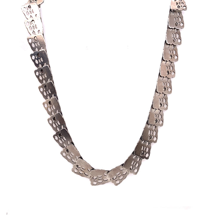 Textured overlapping silver collar necklace | Eva Stone