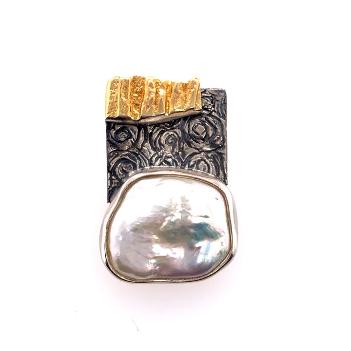 Cultured Pearl Pendant on Sterling Silver with Gold Accent | Eva Stone