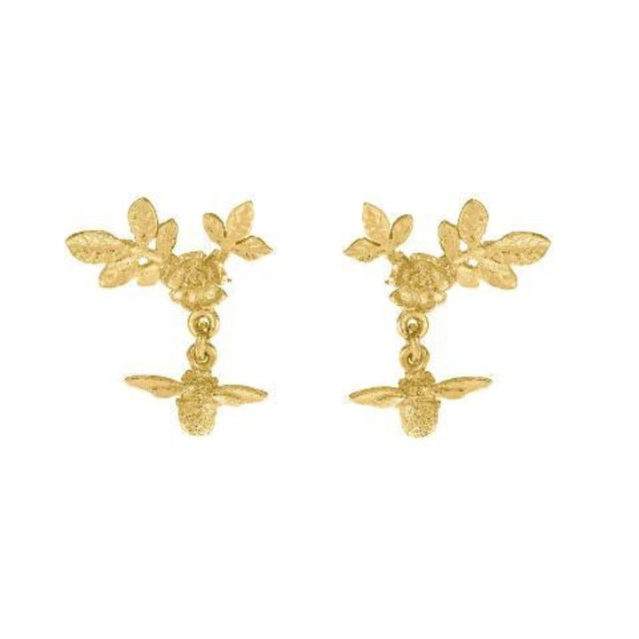 Yellow gold flower bee drop earrings by Alex Monroe