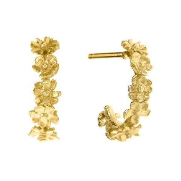 Floral mini hoop earrings by Alex Monroe