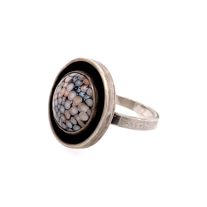 Fossilized Snakeskin Wrasse Ring in Sterling Silver by Ciara Easterling