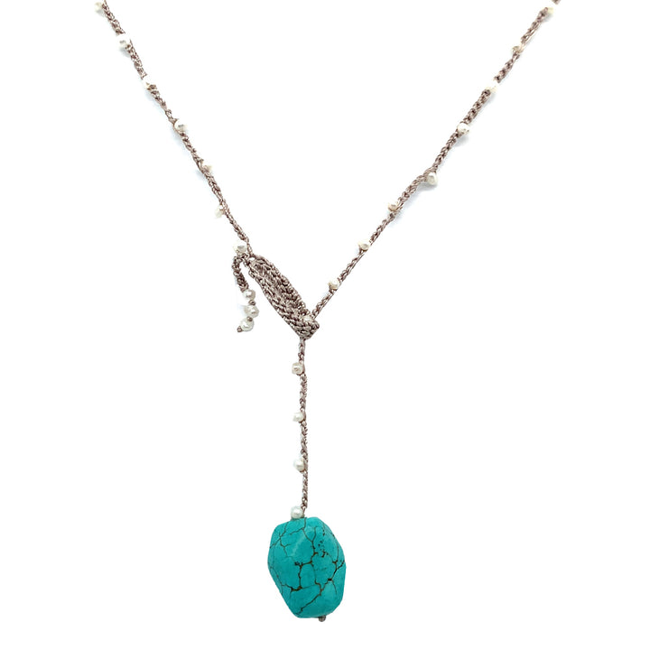 "Turquoise & Pearl ""Blue Skies"" Necklace"