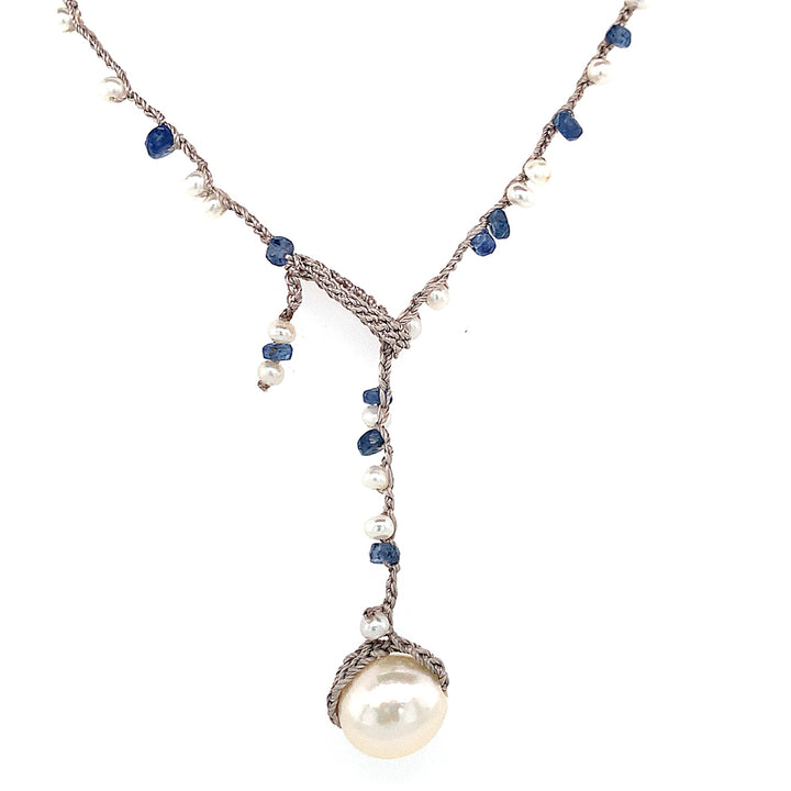 "Pearl & Montana Sapphire ""Rapids"" Necklace"