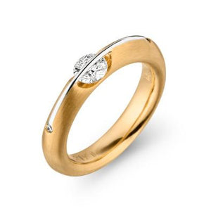 Yellow White Gold Floating Diamond Liberte Ring by Gebruder