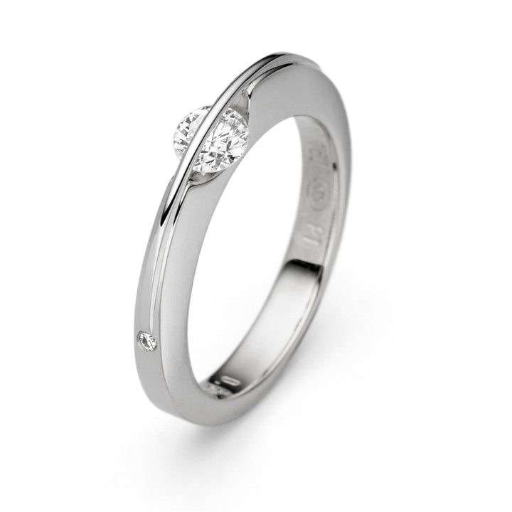 Thin White Gold Floating Diamond Ring by Gebruder