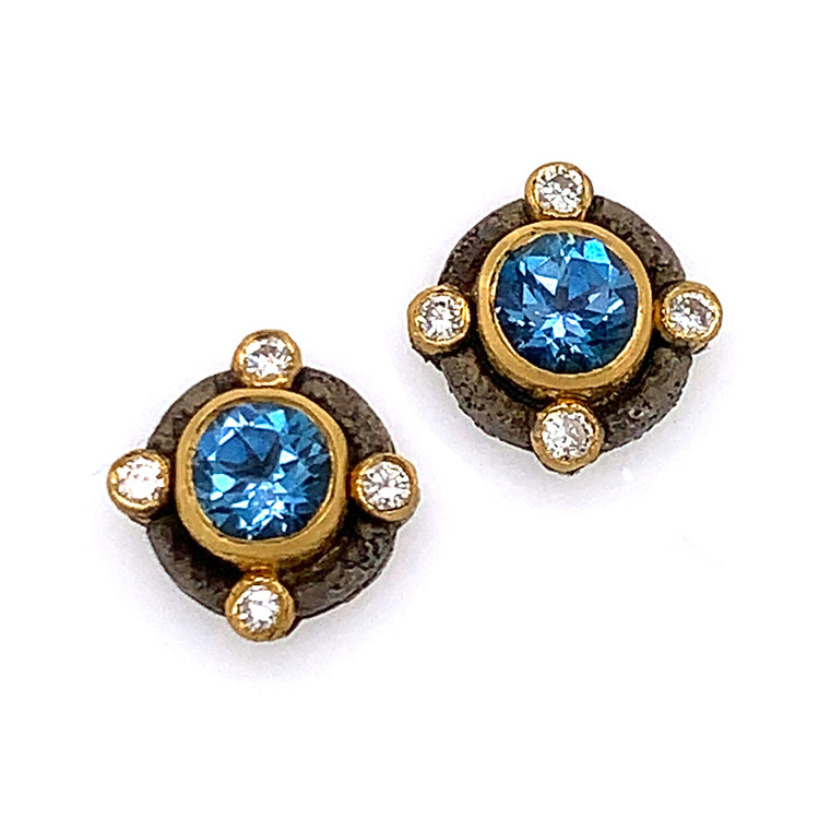"""Rococo"" Aquamarine and Diamond Earrings"