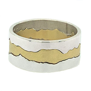 Three interlocking parts are hand-cut to form the Gallatin River on one side of the ring and the Spanish Peaks on the other side.