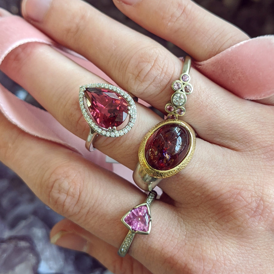 Pink Tourmaline and Pink Sapphire Rings
