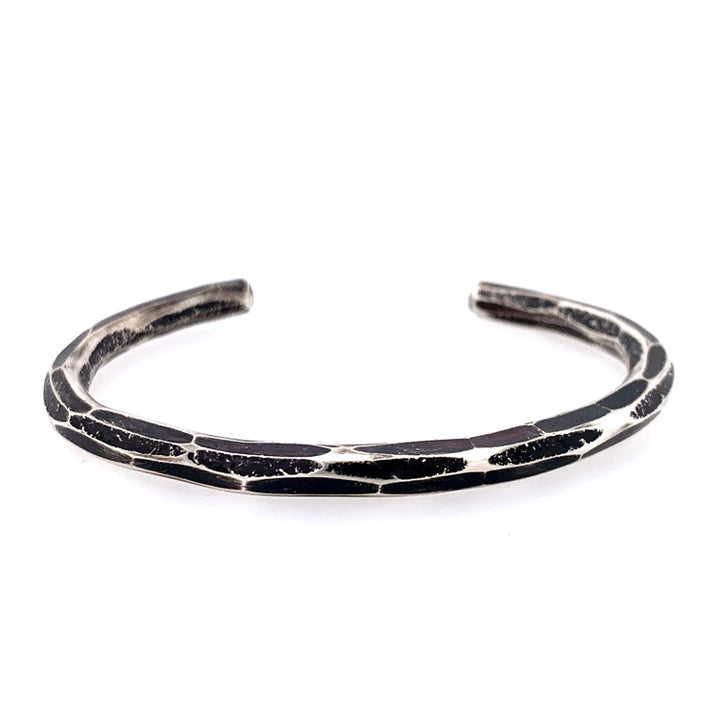 Textured & Oxidized Heavy Silver Cuff