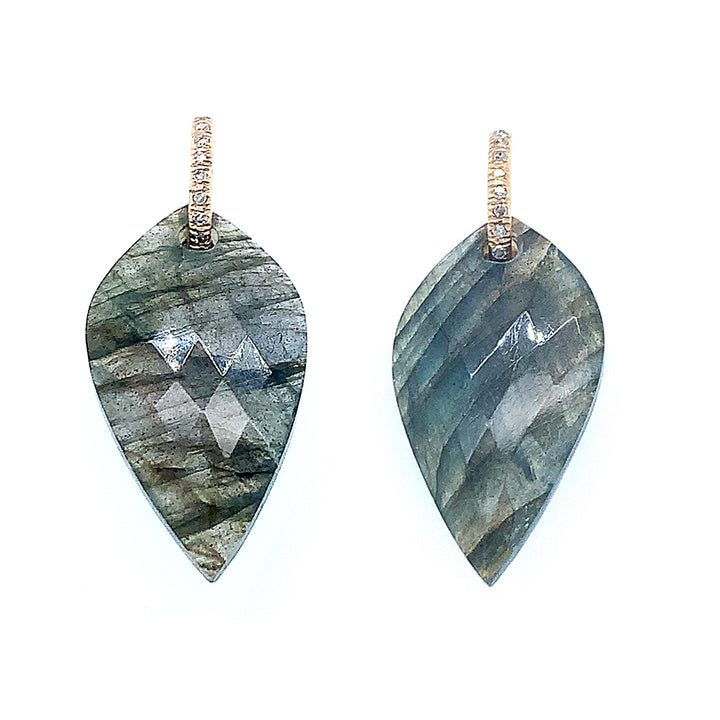 Cut with rose cut facets labradorite earrings have scintillating shades of grey & black.