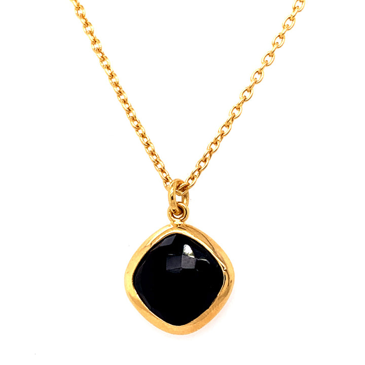 Vermeil Necklace with Checkerboard Onyx