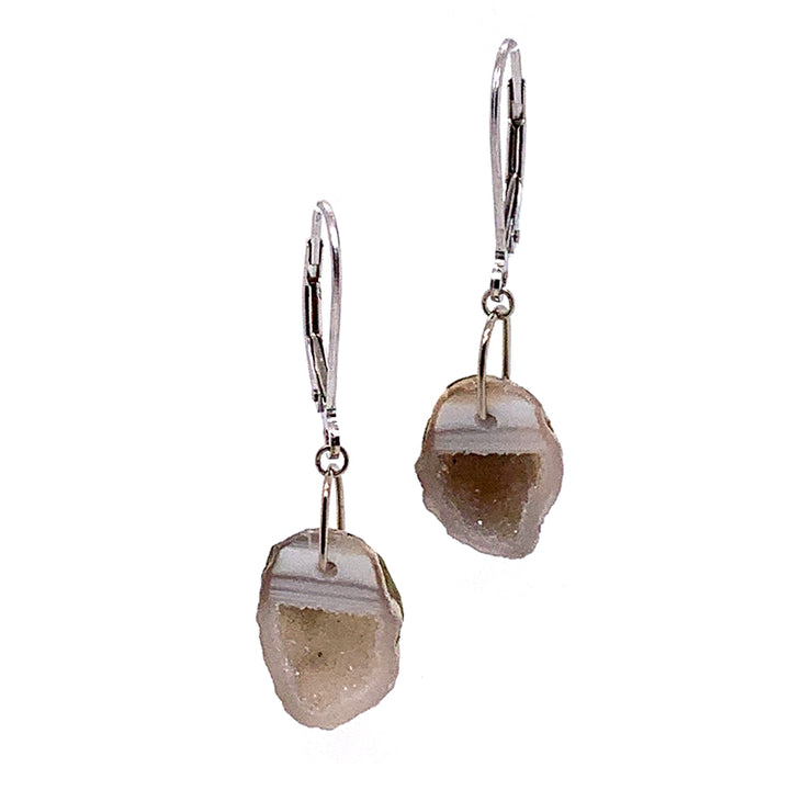 Cream and Taupe Tabasco Geode Earrings with White Gold