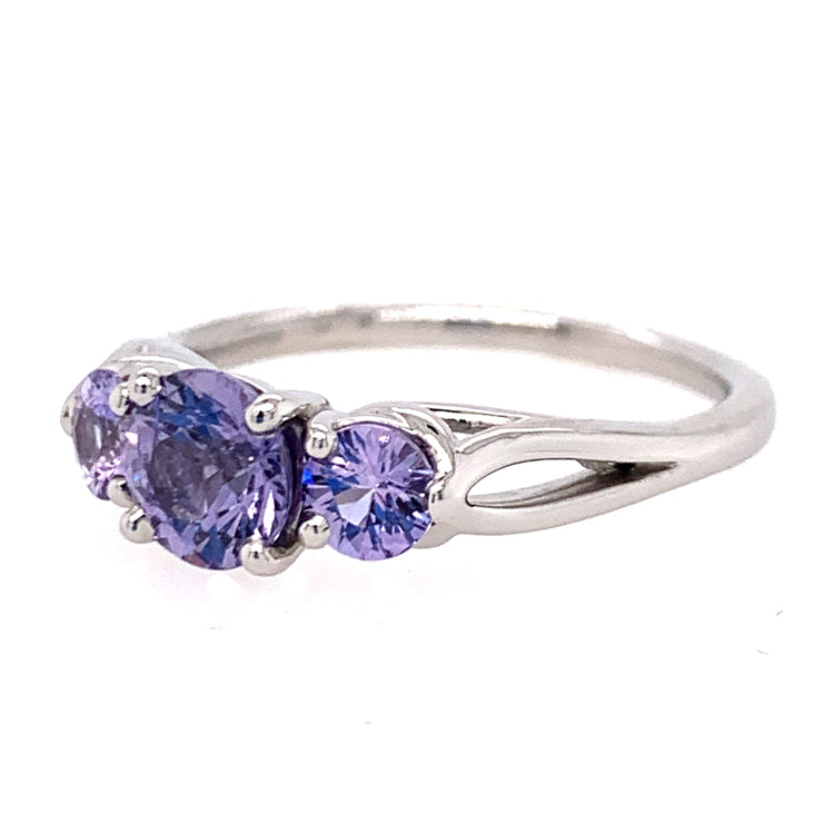 Three Stone Purple Sapphire Ring