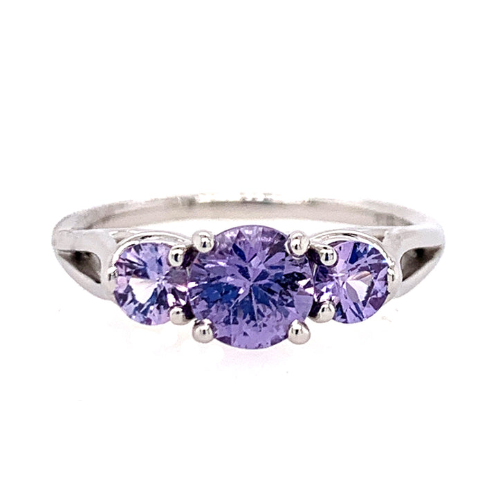Purple Montana Sapphire Three Stone Ring