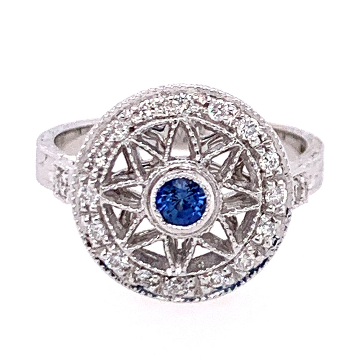 """The Compass"" Yogo Sapphire & Diamond Ring"