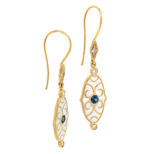 White Enamel and Sapphire Drop Earrings