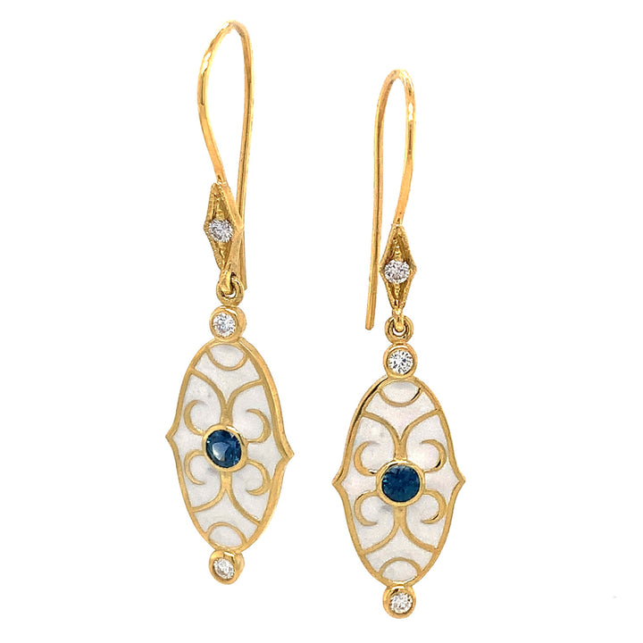 Lord Jewelry Scroll Enamel Earrings with Montana Sapphires