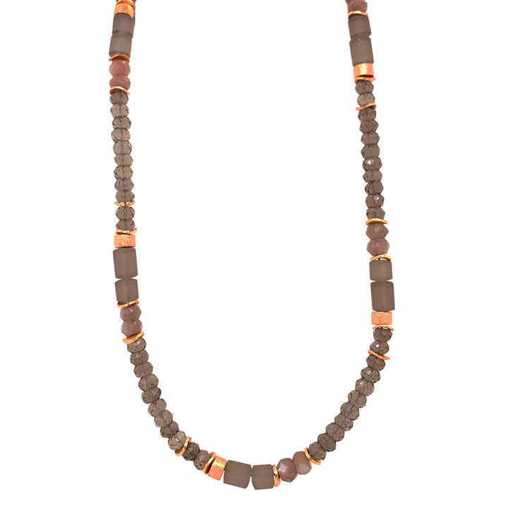 Smoky Quartz Rondelle & Rose Gold Vermeil Necklace