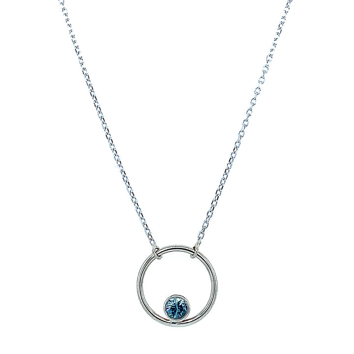 "Summer Sky Blue Montana Sapphire ""Circle"" Necklace"