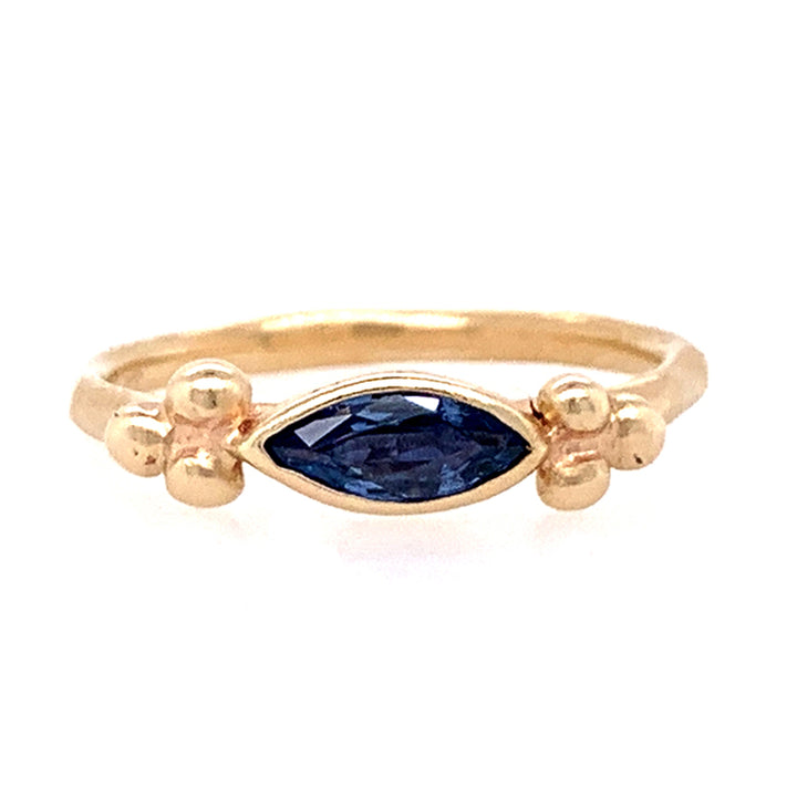 Rebecca Overmann Marquise Yogo Sapphire Yellow Gold Ring