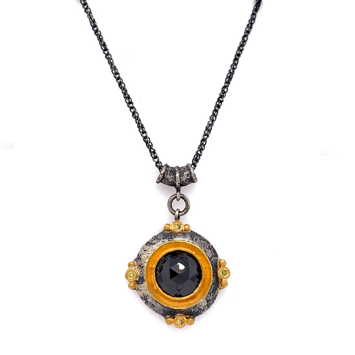 """Maru"" Black & Yellow Diamond Talisman"