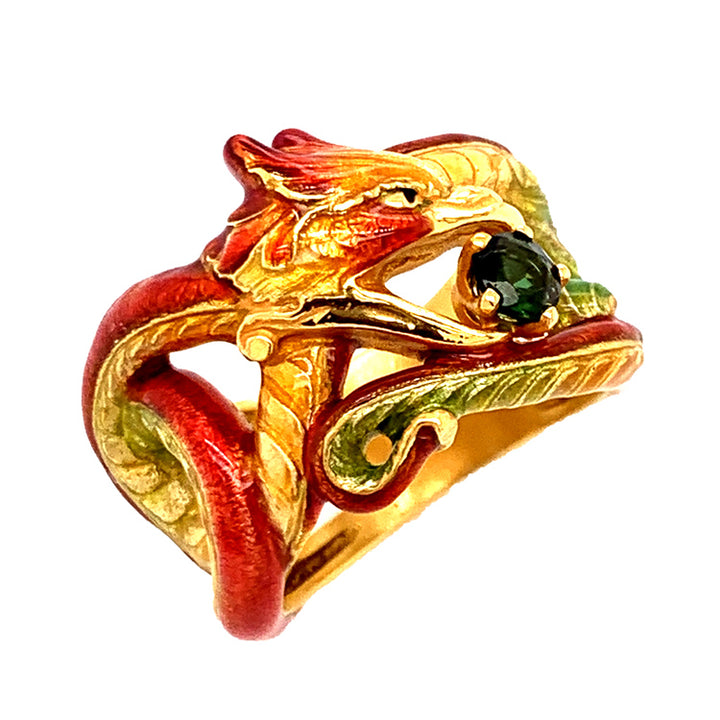 """The Red Dragon"" Ring with Green Tourmaline"
