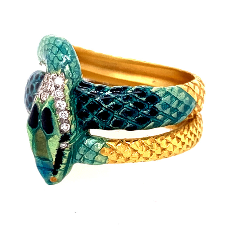 """The Green Serpent"" Fired Enamel & Diamond Ring"