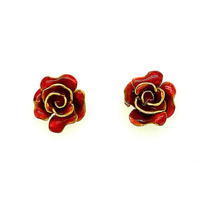 Rose Plique-à-Jour Enamel Earrings