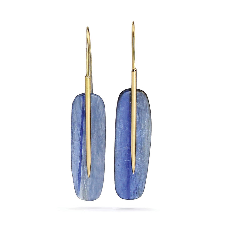 "Kyanite Medium ""Feather"" Earrings"