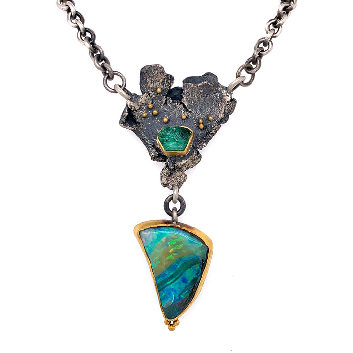Emerald Crystal & Boulder Opal Necklace