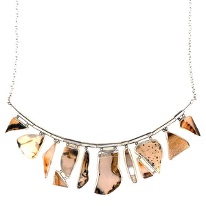 Montana agates within a hand-fabricated sterling silver bezels, this one-of-a-kind necklace is reminiscent of stained glass