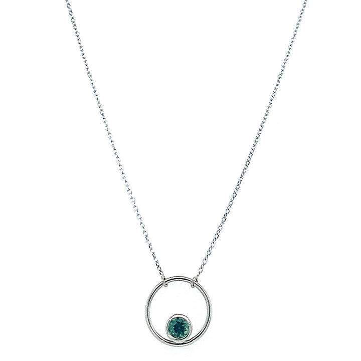 "Green-Blue Montana Sapphire ""Circle"" Necklace"