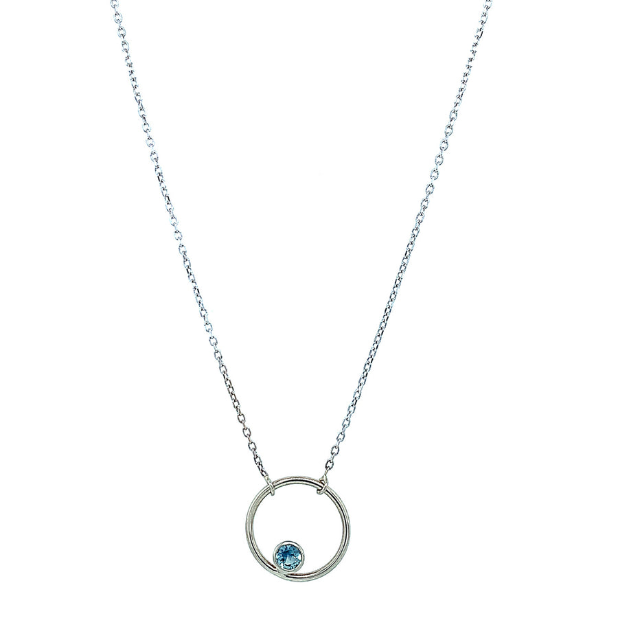 "Light Blue Montana Sapphire ""Circle"" Necklace"