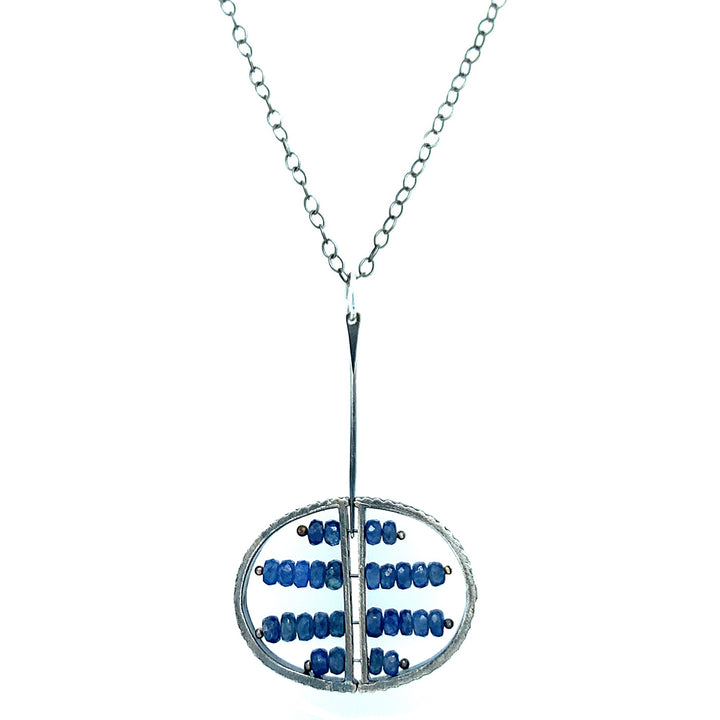 """Abacus"" Sterling Silver and Montana Sapphire Necklace"