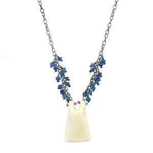 Hand-Carved Antler Necklace with Montana Sapphires