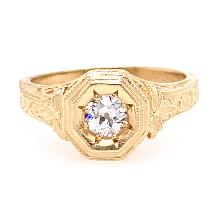 Old European Cut Diamond Die-Struck Ring