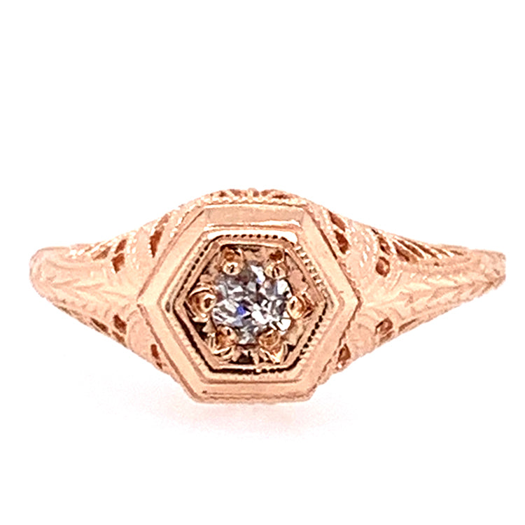 Old Mine Cut Diamond & Rose Die-Struck Ring