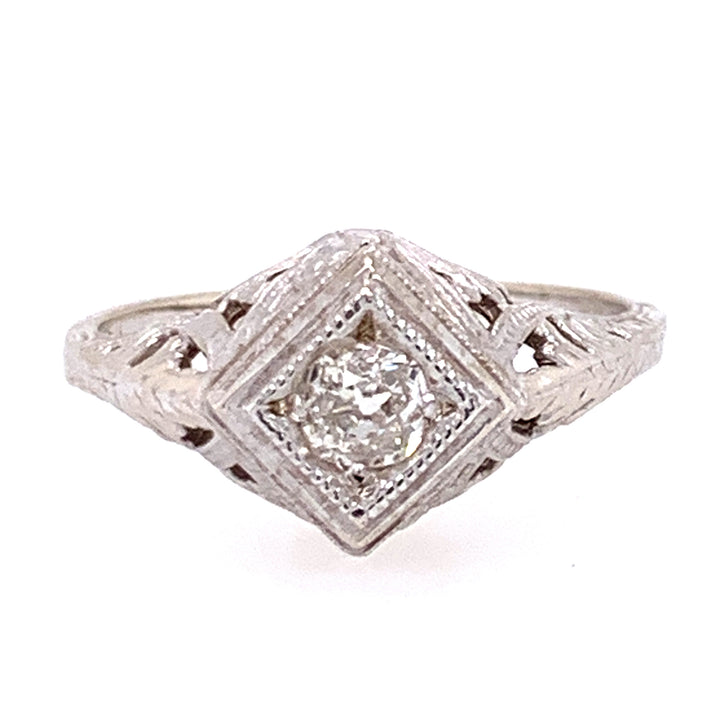 Old Mine Cut Diamond & White Gold Die-Struck Ring