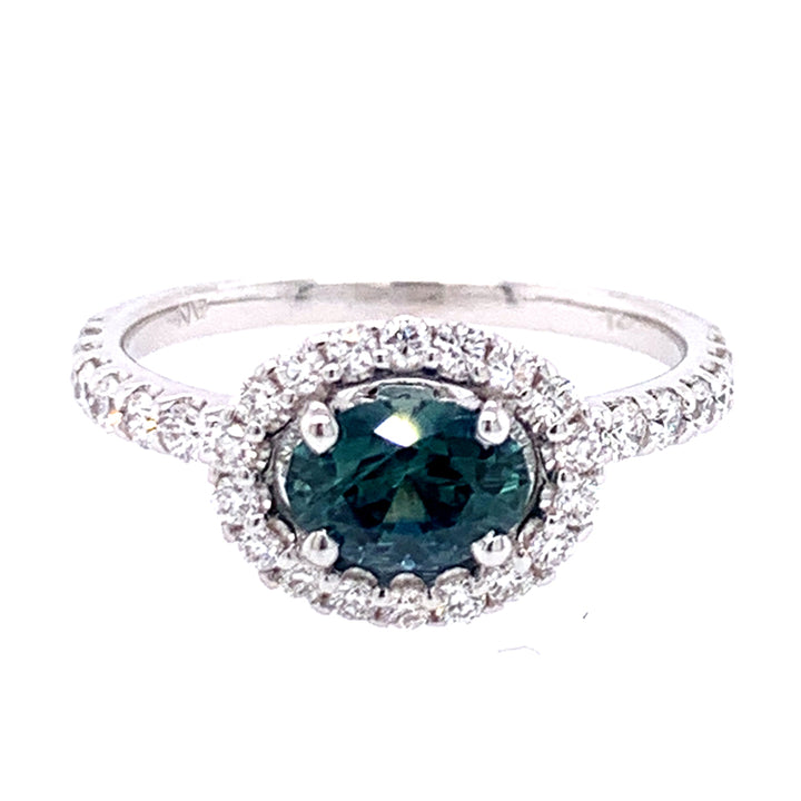 Oval Teal-Blue Montana Sapphire & Diamond Accented Ring