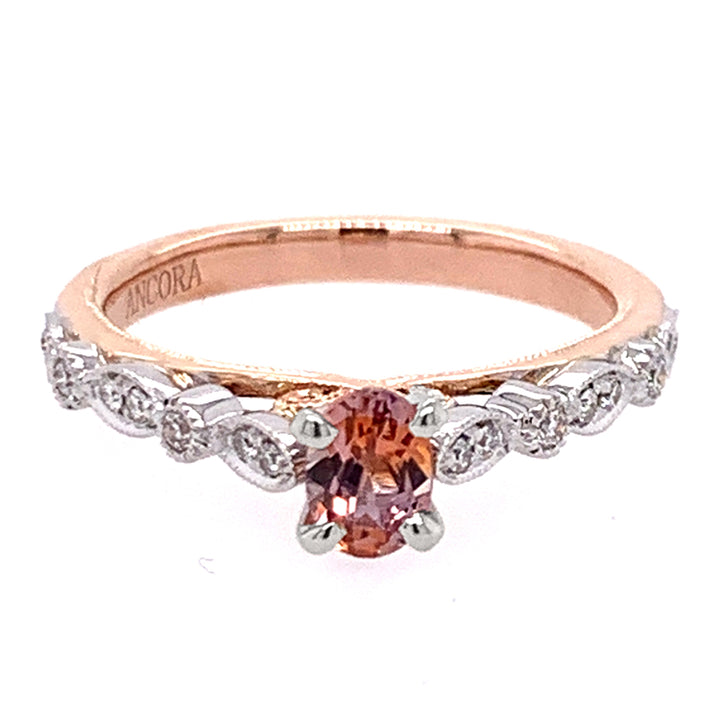 White and Rose Gold Montana Sapphire Engagement Ring