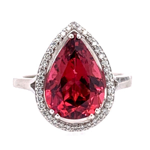 "Pink Tourmaline & Diamond Halo ""Cixi"" Ring"