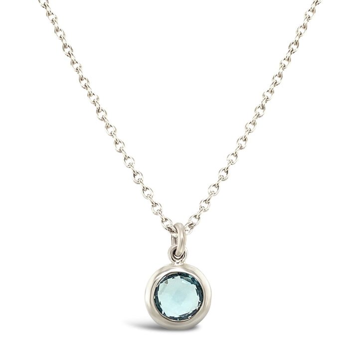 Petite Checkerboard-Cut Blue Topaz Necklace