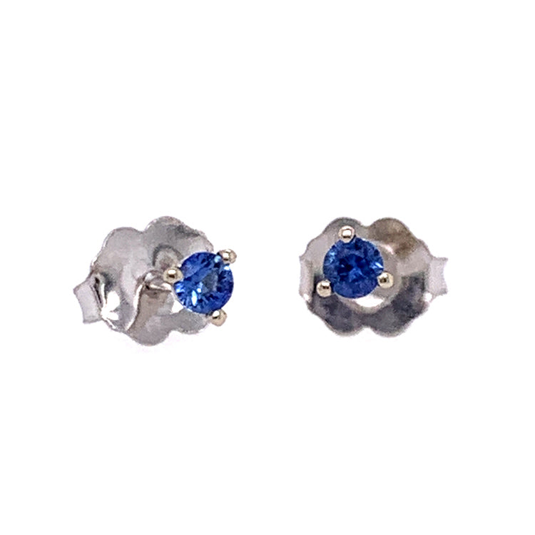 Petite 2.5mm round blue Yogo sapphires in 14K White Gold martini stud earrings with friction backs.