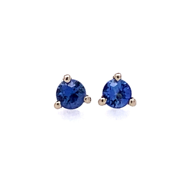 Petite 2.5mm round blue Yogo sapphires in 14K White Gold martini stud earrings.