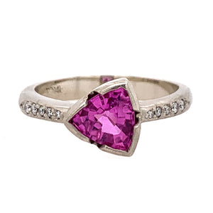 Pink Trillian-Shaped Montana Sapphire Ring by Rebecca Overmann