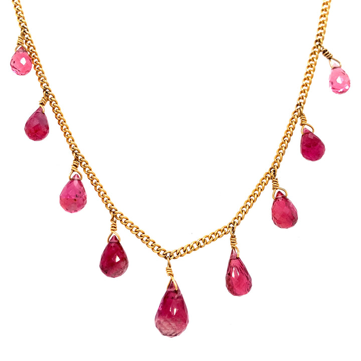 pink tourmaline briolette necklace