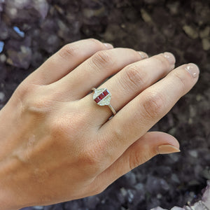 Princess-Cut Ruby Ring with Diamond Accents