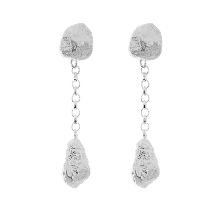 Sterling Silver Nuggets and Chain Earring