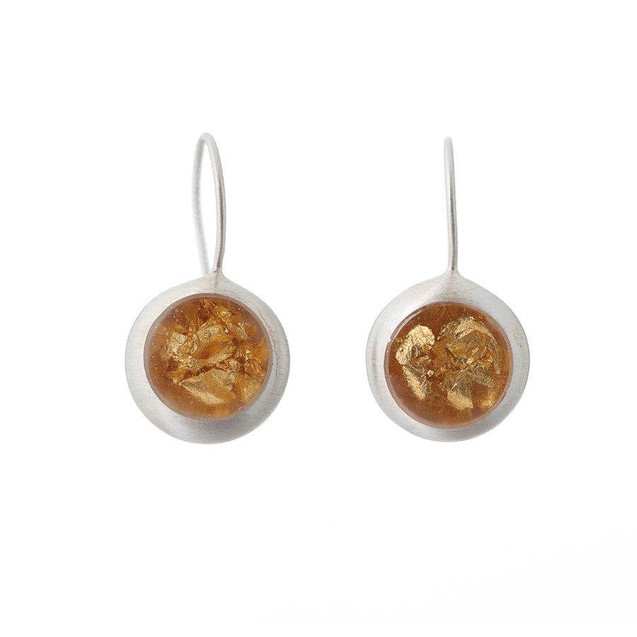 Sterling Silver with Gold Foil Resin Drop Earring