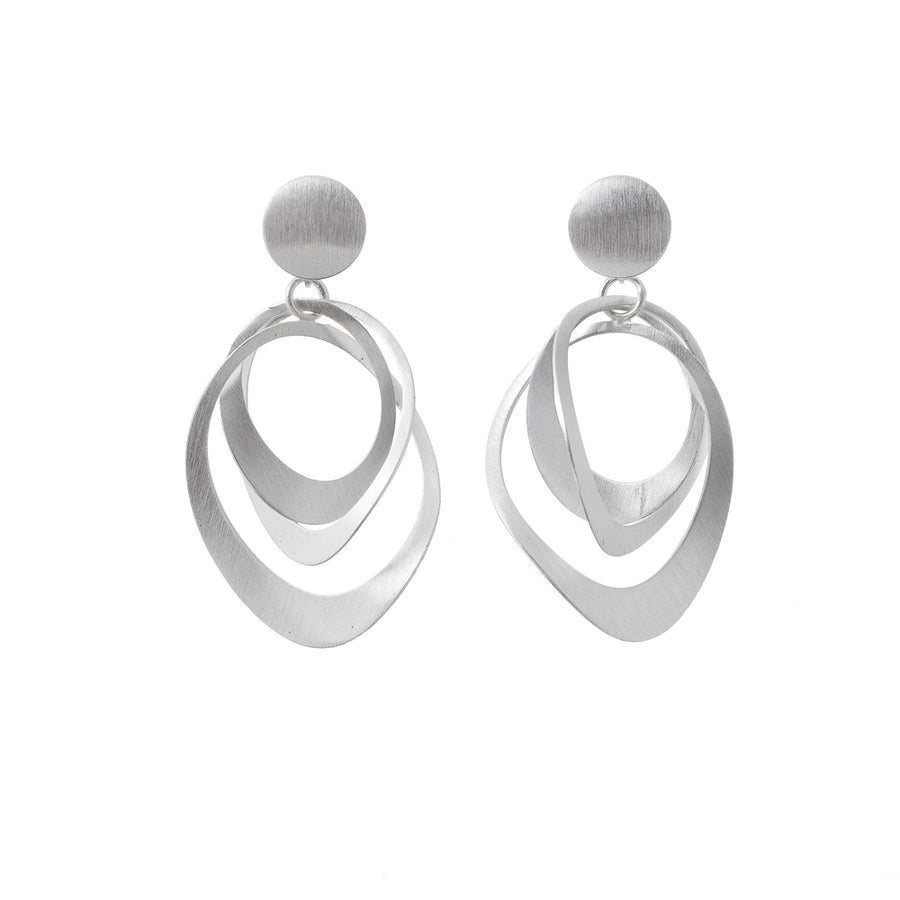 Sterling Silver Intertwined Oval Earring